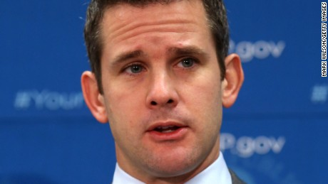 Rep. Adam Kinzinger (R-IL) speaks to the media after attending the weekly House Republican conference at the U.S. Capitol, October 29, 2013 in Washington, DC.