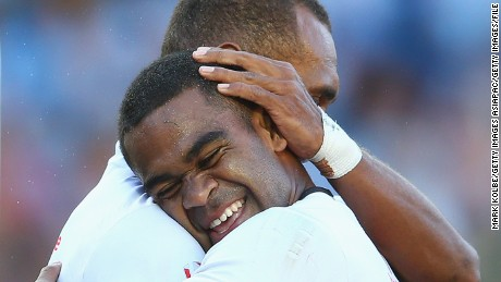 SYDNEY, AUSTRALIA - FEBRUARY 07:  Vatemo Ravouvou and Osea Kolinisau of Fiji celebrate a try during the 2016 Sydney Sevens bronze final between South Africa and Fiji at Allianz Stadium on February 7, 2016 in Sydney, Australia.  (Photo by Mark Kolbe/Getty Images)
