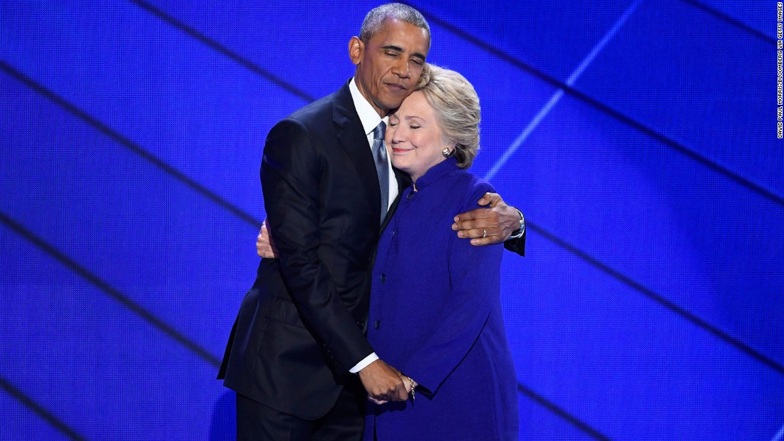 "Obama hugs Hillary Clinton after speaking at the Democratic National Convention in July 2016. Obama told the crowd at Philadelphia's Wells Fargo Center that Clinton is ready to be commander in chief. ""For four years, I had a front-row seat to her intelligence, her judgment and her discipline,"" he said, referring to Clinton's stint as secretary of state."