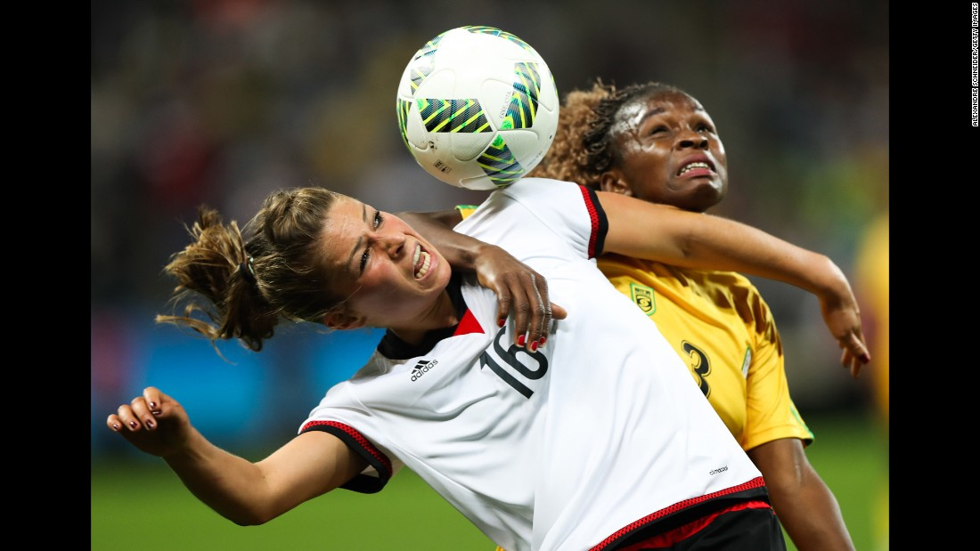 Germany's Malanie Leupolz, left, competes against Zimbabwe's Sheila Makoto during a match in Sao Paulo, Brazil, on August 3. The Olympic soccer tournament is already underway.