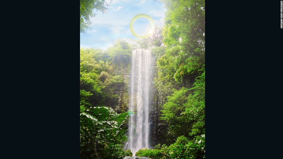 """""""Ring: One With Nature"""" has been installed atop the 190-foot Véu da Noiva waterfall in Mangaratiba, a municipality on the outskirts in of the state of Rio de Janeiro. It officially opened to on August 2."""