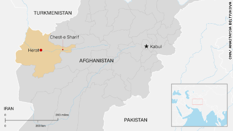 A map locating the district of  Chest-e-Sharif in Afghanistan's Herat province, where a convoy of tourists was struck by a rocket.