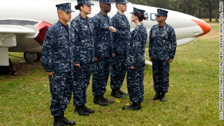 The Navy will phase out the blue camouflage working uniform beginning in October. (U.S. Navy Photo/Released)