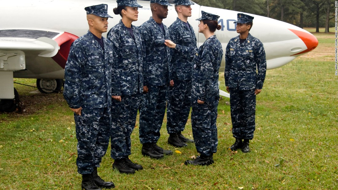 "Sailors wearing the Navy Working Uniform I, dubbed ""aquaflage,"" in 2008. Unless otherwise prescribed by the regional commander, the uniform is currently authorized to be worn at all facilities on base."