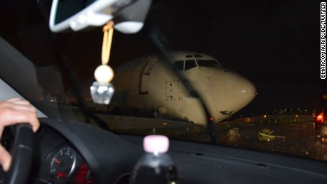 A Boeing 737 cargo plane crashed onto a road in Italy.