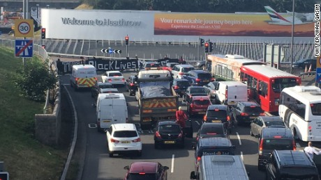 Black Lives Matter UK protesters block the road to Heathrow Airport.