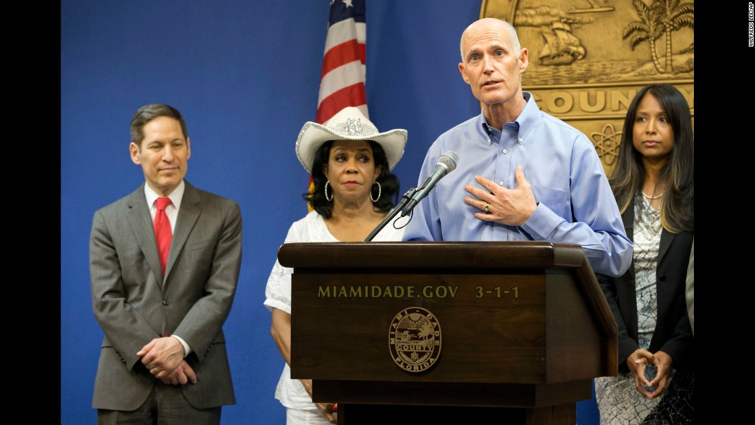"Florida Gov. Rick Scott speaks during a news conference about the Zika virus on Thursday, August 4. The Centers for Disease Control and Prevention <a href=""http://www.cnn.com/2016/08/01/health/cdc-miami-florida-zika-travel-warning/"" target=""_blank"">has issued an unprecedented travel warning,</a> advising pregnant women and their partners not to travel to a small community just north of downtown Miami where the Zika virus is actively circulating."