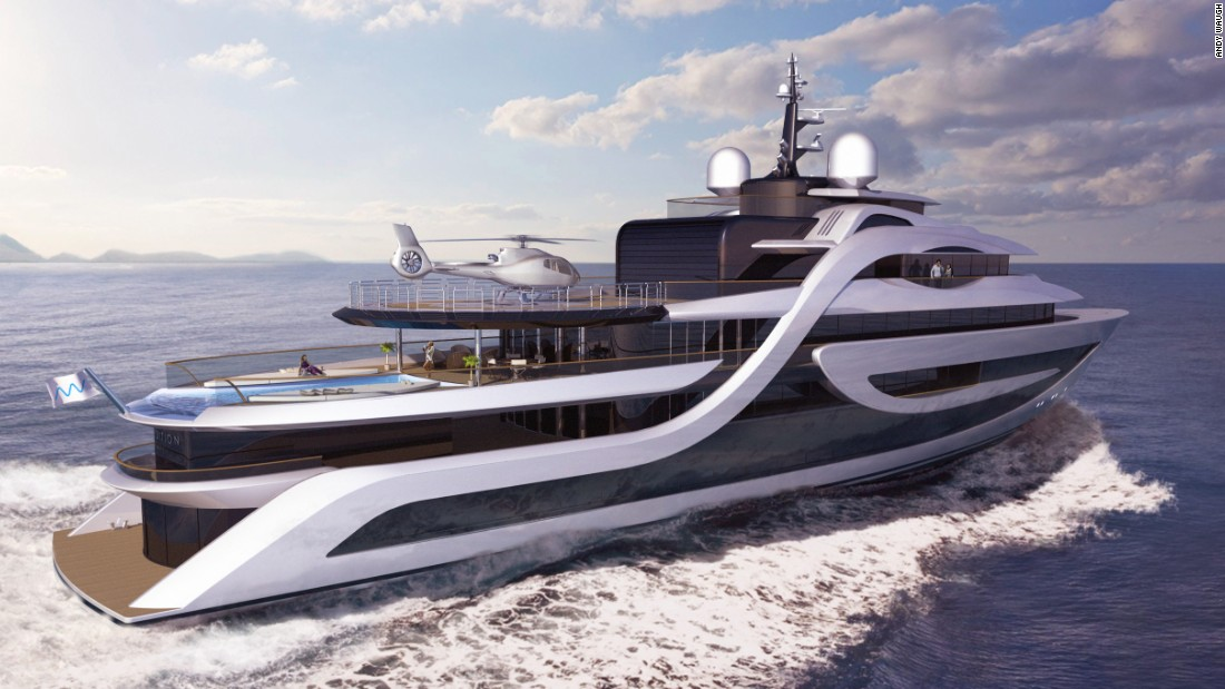 "Waugh has designed several superyacht concepts. <a href=""http://www.andywaugh.co.uk/concepts/expedition/#"" target=""_blank"">Expedition</a> ""is a high-volume 75-meter explorer yacht with unparalleled levels of accommodation,"" he says. It features a permanent helipad, heli-garage, spa with sauna, steam room and massage room. It also has a private cinema and an infinity pool."