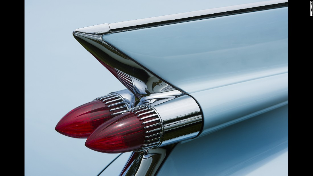 "The iconic rear fin and taillights of a 1959 Cadillac Series 62. ""I'm not really involved with photographing whole cars,"" photographer Steven Edson said. ""My interest is really in looking at the details and the abstractions of these parts and finding the art in the smaller views of cars."""