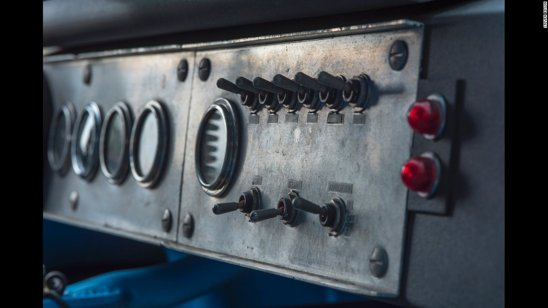 The interior dashboard switches of a race car
