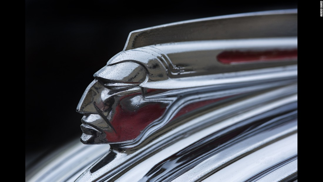 "A chrome American Indian head (aka the ""Star Chief"") on a 1941 Pontiac"