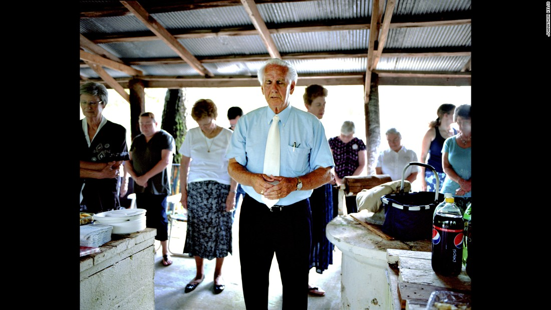 People attend a Sacred Harp singing at a Primitive Baptist church in Ephesus, Georgia.