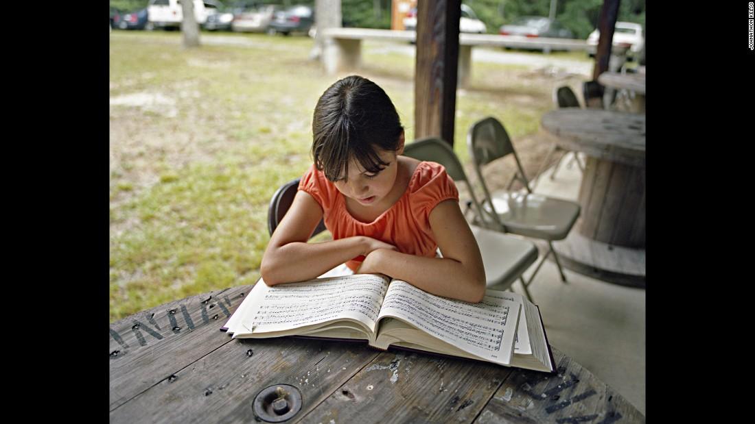 Jenna Frye reads music in Carrollton, Georgia.
