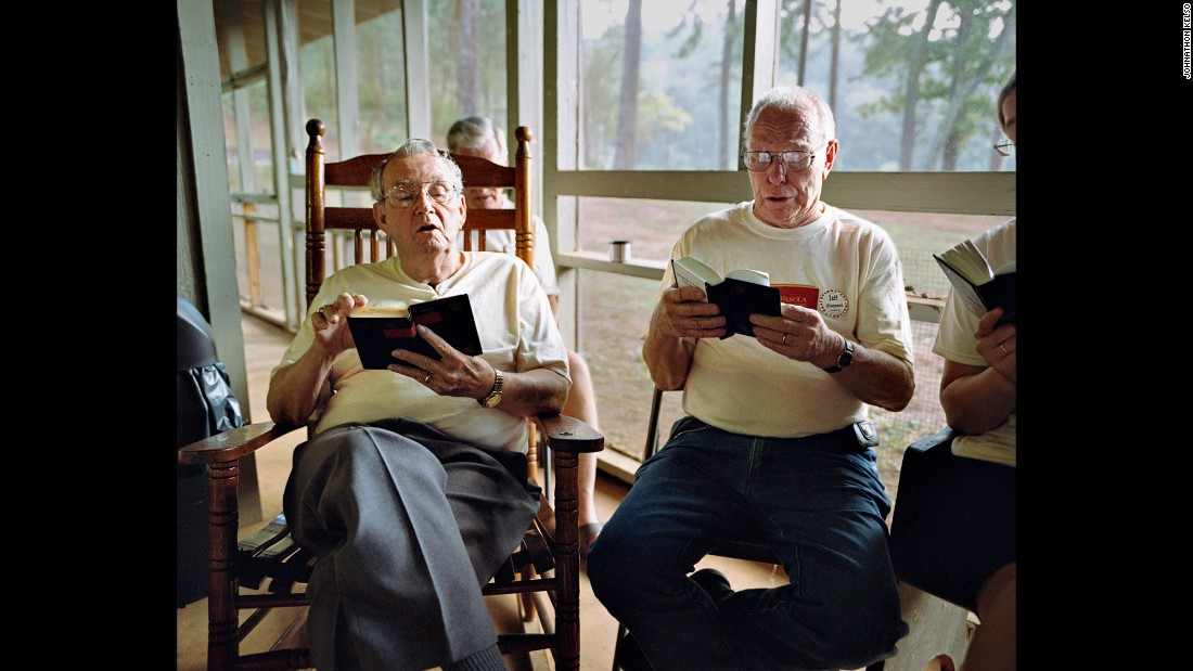 Eugene Forbes and Jeff Sheppard sing from the Lloyd's Hymnal at Camp Fasola.