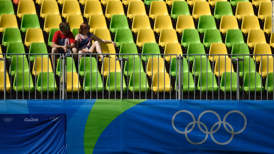 Spectators attend the women's rugby sevens event at Deodoro Stadium in Rio de Janeiro.