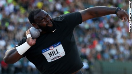 Darrell Hill participates in the Men's Shot Put Final during the 2016 U.S. Olympic Track & Field Team Trials in Eugene, Oregon.  (Photo by Patrick Smith/Getty Images)