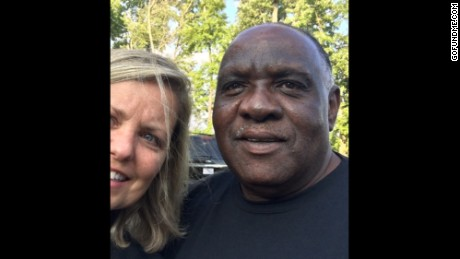 Liz Willock poses with Uber driver Ellis Hill.