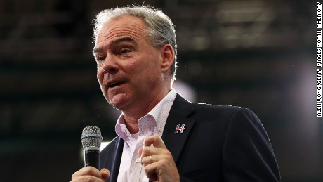 Democratic vice presidential candidate Sen. Tim Kaine (D-VA) speaks to voters during a campaign event August 1, 2016 in Richmond, Virginia.