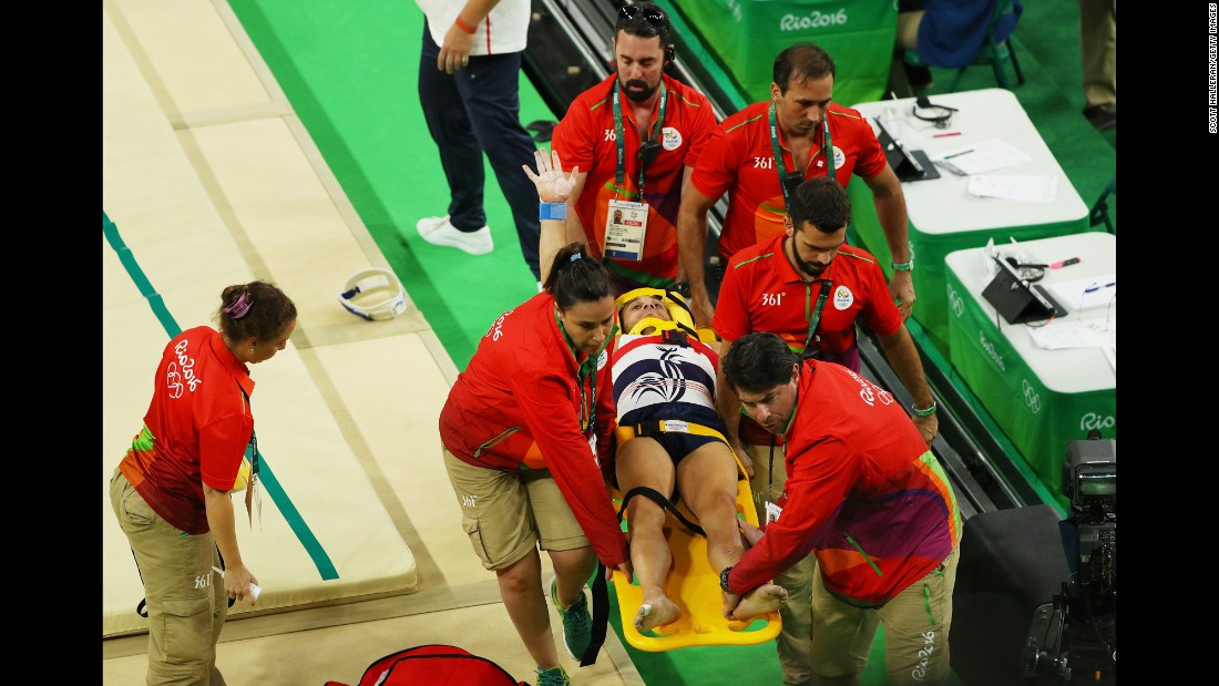 "Samir Ait Said of France receives medical attention <a href=""http://www.cnn.com/2016/08/06/sport/rio-olympics-french-gymnast-breaks-leg/index.html"" target=""_blank"">after breaking his leg on the vault</a> during the artistic gymnastics team qualification round on Saturday, August 6."