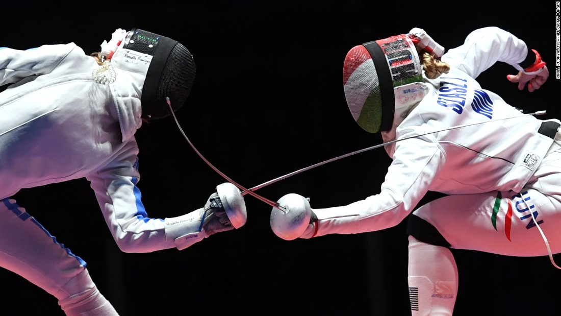 Italy's Rossella Fiamingo competes against Hungary's Emese Szasz during the women's individual epee gold medal bout in fencing. Szasz won the gold medal.