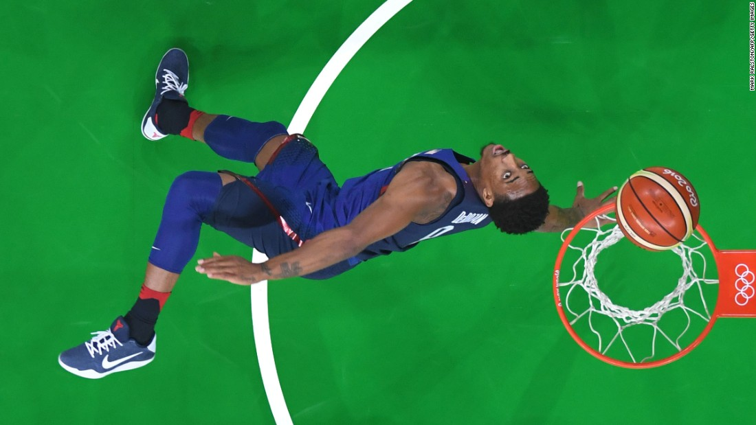 A view from above shows USA guard Demar Derozan scoring during a men's round Group A basketball match between China and USA. The United States won 119-62.
