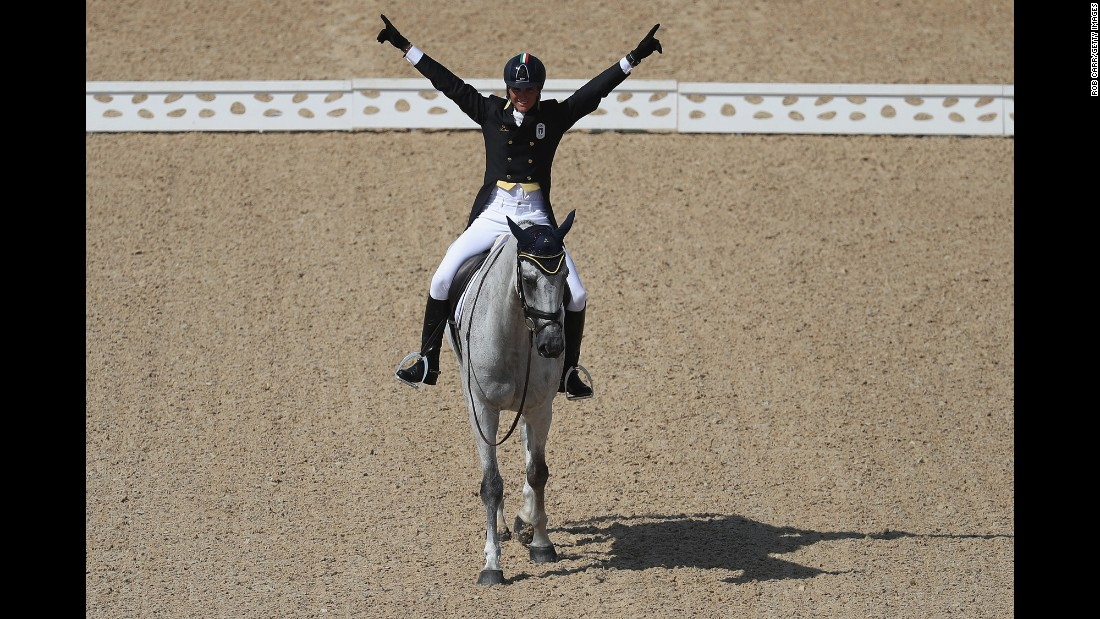 Pietro Roman of Italy riding Barraduff reacts after competing in the Eventing Team Dressage event.