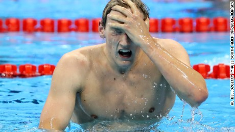 Mack Horton of Australia celebrates winning gold in the Final of the Men's 400m Freestyle on Day 1 of the Rio 2016 Olympic Games.