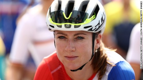 Annemiek van Vleuten stands at start line of the Women's Road Race