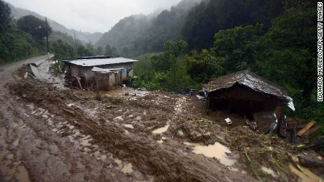 The community of Coscomatepec, Veracruz, in eastern Mexico was among many towns and villages drenced by Tropical Storm Earl then hit by mudslides and landslides.