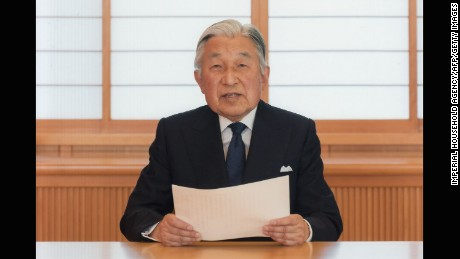 This handout photo taken on August 7, 2016 and released on August 8 by the Imperial Household Agency, shows Japanese Emperor Akihito addressing a speech to the nation at the Imperial Palace in Tokyo. Emperor Akihito said on August 8, his advancing age and weakening health mean he may no longer be able to carry out his duties, setting the stage for Japan to prepare for an historic abdication.