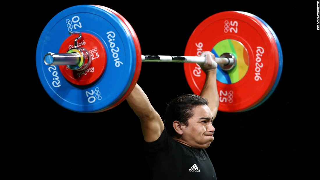 Julio Cesar Salamanca Pineda, a weightlifter from El Salvador, competes in the 62-kilogram weight class.