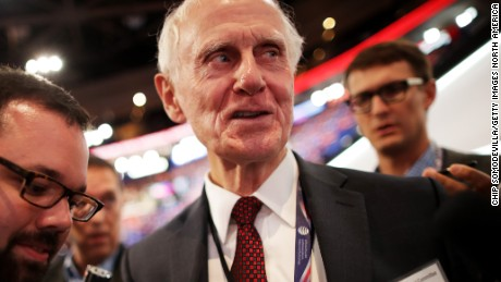 Gordon Humphrey, speaks to the media on the first day of the Republican National Convention on July 18, 2016 at the Quicken Loans Arena in Cleveland, Ohio.
