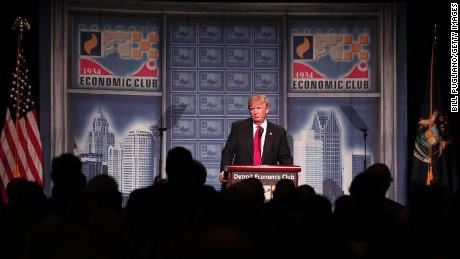 Republican presidential candidate Donald Trump delivers an economic policy address detailing his economic plan at the Detroit Economic Club August 8, 2016 in Detroit Michigan.