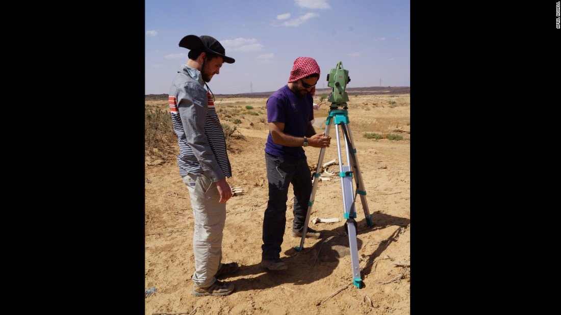 Chris Ames and John Murray survey the area which in ancient times was like a paleolithic bus stop where a wide variety of animals traveled back and forth between Africa and Eurasia.