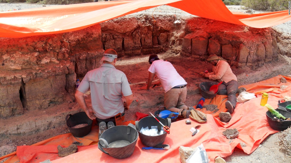 Amer Al-Souliman of Jordan's Hashemite University, right, along University of Victoria students Jeremy Beller and Murray, worked on the excavation with Nowell. The tools were found on digs from 2013 to 2015.
