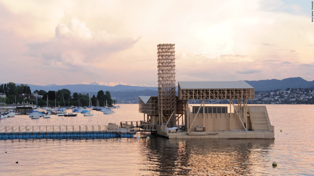 This floating wooden pavilion is the Pavillion of Reflections in Zurich. It was revealed as part of Manifesta, an annual contemporary art biennial.