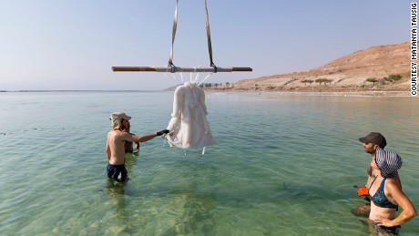 "Studio Landau lifting ""Small Salt Bride"" from the waters of the Dead Sea"