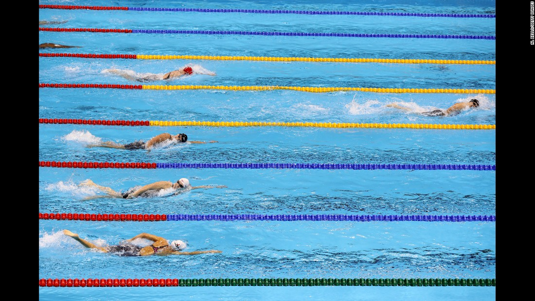 "U.S. swimmer Katie Ledecky blows away the field in the 400-meter freestyle final on Sunday, August 7. The 19-year-old <a href=""http://www.cnn.com/2016/08/07/sport/michael-phelps-katie-ledecky-rio/"" target=""_blank"">smashed her own world record</a> to win in 3:56.46 -- nearly five seconds ahead of her closest rival."