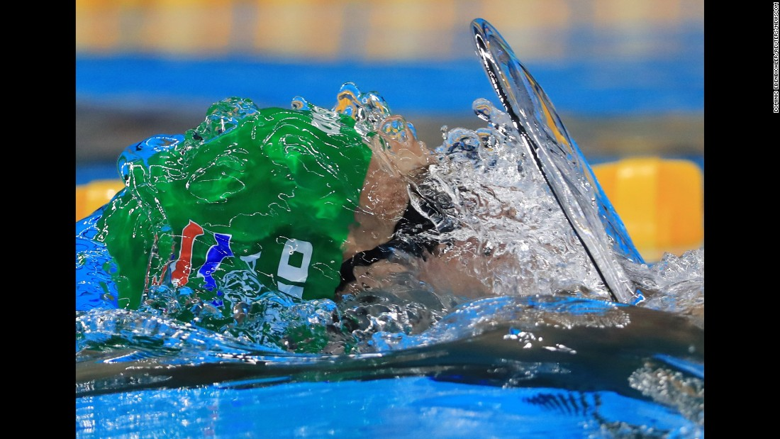 South African swimmer Christopher Reid competes in the 100-meter backstroke on Sunday, August 7.
