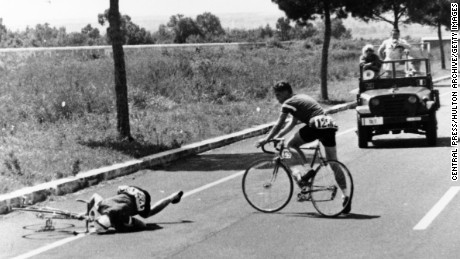 Danish cyclist Knud Enemark Jensen died after falling from his bicycle in the 1960 Rome Olympics. Jensen's body tested positive for amphetamine and Roniacol, a vasodilator.