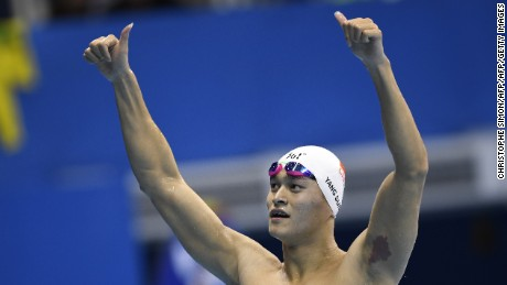 Sun Yang celebrates after winning the men's 200m freestyle.