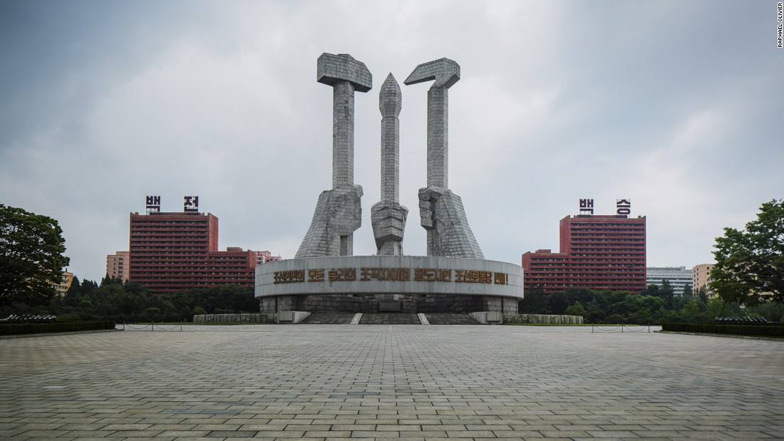 """Completed in 1995, this monument is quite a recent structure yet very much follows the architectural line of Pyongyang. It's made from raw granite stone and radiates harshness, struggle and strength."""