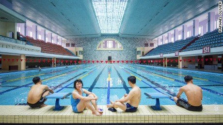 Changgwang-won health complex. This monumental building features several pools as well as saunas, spas, massage rooms and barber shops. Completed in 1981, it showcases pure modernist architectural features and very carefully arranged interiors, notably the tile work.