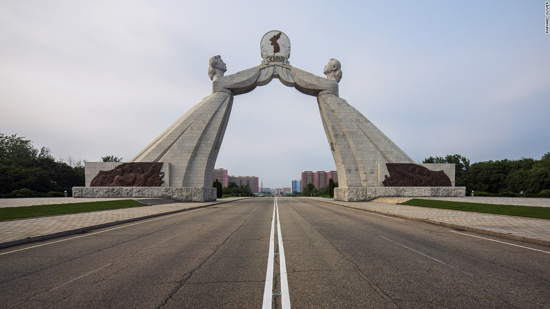 """This sits on the outskirts of Pyongyang. The two women symbolize the two Koreas and the desire of reunification. Like many other monuments in the country, it is made from solid granite stone."""