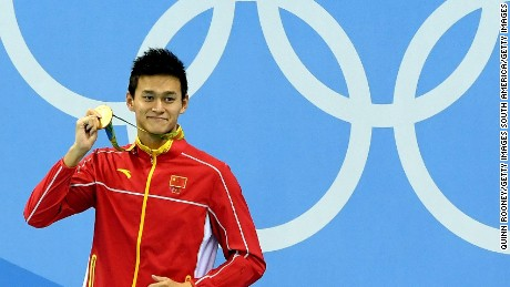 Gold medalist Yang Sun of China poses on the podium during the medal ceremony for the men's 200m freestyle on August 8.