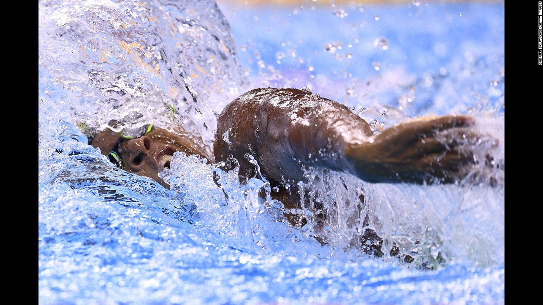 The Ivory Coast's Thibault Amani Danho competes in the 100-meter freestyle.