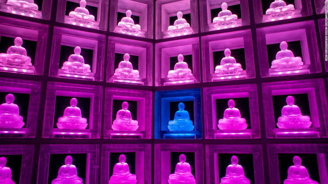 A  glass Buddha alter lights up inside the Ruriden columbarium in Tokyo, Japan.