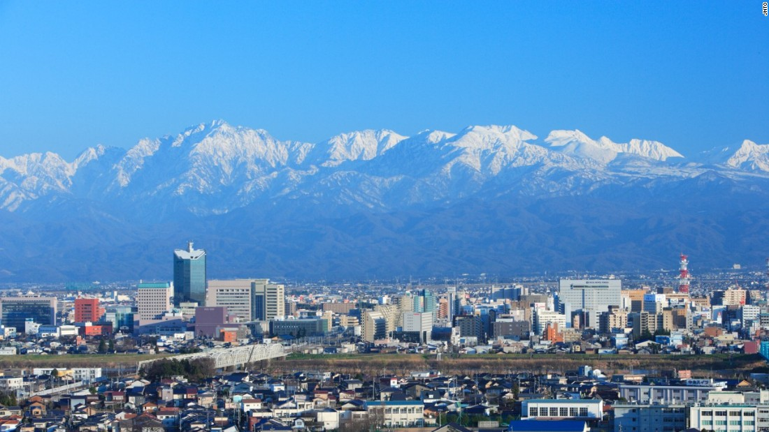 The Tateyama mountain range forms a permanently beautiful backdrop to Toyama city, in the prefecture of the same name.