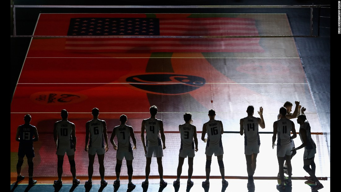 Italy's volleyball team is introduced before its match against the United States.