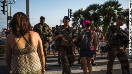 NICE, FRANCE - AUGUST 04:  French soldiers patrol the Promenade des Anglais on August 4, 2016 in Nice, France. Security along the French Riviera and across France has been stepped up following the recent terrorist attacks. On July 14, a French-Tunisian attacker killed 84 people as he drove a lorry along the Promenade through crowds who had gathered to watch a firework display during Bastille Day Celebrations. The attacker then opened fire on people in the crowd before being shot dead by police.  (Photo by Dan Kitwood/Getty Images)